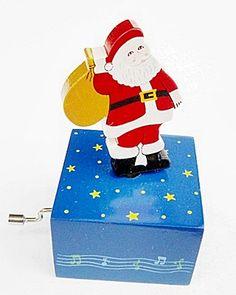 Boite à musique Père Noel bois. Commerce équitable