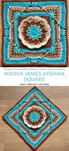 crochet mandala pattern Beautiful afghans are created with beautiful afghan blocks. Crocheted squares come in all sizes and colours, so today's collection features the most amaz Crochet Mandala Pattern, Granny Square Crochet Pattern, Crochet Stitches Patterns, Crochet Designs, Knitting Patterns, Crochet Square Blanket, Crochet Squares Afghan, Crochet Blocks, Granny Squares