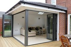 Extension with bifold doors and roof light House Extension Plans, Building Extension, House Extension Design, Roof Extension, House Design, Extension Google, Extension Ideas, Garage Design, Bungalow Extensions