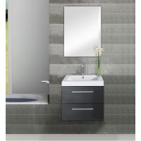 ENSEMBLE MEUBLE SDB  Meuble simple vasque Saturn 60cm gris