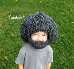 Wig Beard Hat Halloween Costume Any Color Hobo Mad by YumbabY
