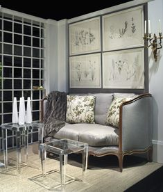 Framed intaglio prints, ecclectic modern (Lucite Lux®) and antiques in juxtaposition.  Charles Spada