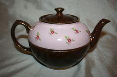 Vintage Sadler Brown Betty Teapot Brown & Pink with Roses # 2429