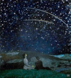 Franz von Stuck - Falling Stars (Franz and Mary Stuck) Nocturne, Star Painting, Sky Full Of Stars, Falling Stars, Shooting Stars, Pretty Art, Pretty Pictures, Playlists, Art Inspo
