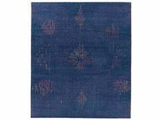 Handmade rectangular rug TUMULTE BLUE