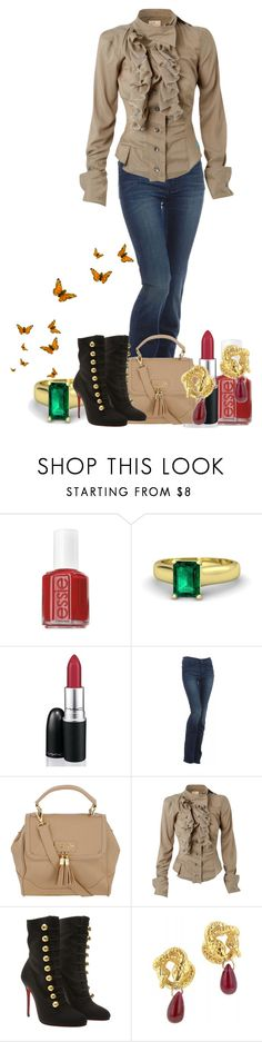 """""""Catching My Breath"""" by madameregal ❤ liked on Polyvore featuring Essie, Gemvara, MAC Cosmetics, 7 For All Mankind, Dorothy Perkins, Vivienne Westwood and Christian Louboutin"""