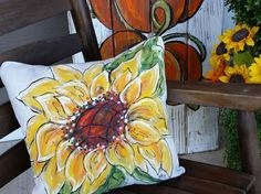 Sunflowers, Fall, Spring and Summer Flower, Indoor/Outdoor, HomeDecor, Hand-painted, Handmade, Pillow Cover, No. 369 Fall Pillows, Decor Pillows, Throw Pillows, Rustic Decorative Pillows, Handmade Pillows, Large Pillows, Sunflower Room, Hacks, Couch