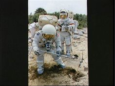 This series of photographs from September 1972, Apollo 17 astronauts Harrison Schmitt and Eugene Cernan practice collecting samples on a simulated lunar surface at Kennedy Space Center in Florida.