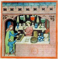 A Feast For The Eyes  15. A raisin & grapes merchant; Tacuinum Sanitatis, 15th c., Paris.