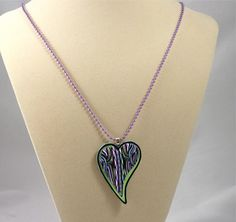 Polymer Cay Heart Pendant with Lime Green and by Knightworkstudio, $24.00