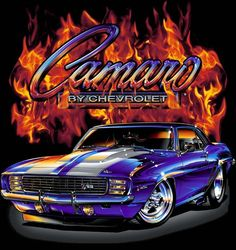 Camaro classic car with flames printed on a XXL Black tee shirt. Two sided print, with the words of Carmo by Chevrolet on the right front pocket area of the shirt. has GM tag on. May have some other sizes, not sure, need to check my invent. Blue Camaro, Chevy Camaro Z28, Chevy Ss, Chevrolet, Cross Stitch Kits, Cross Stitch Patterns, Arte Lowrider, Cool Car Drawings, Flavio