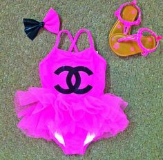 #KiddieKouture #Chanel #SwimWear #Sandals #Bow