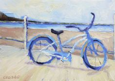 Original Small Oil Painting Bicycle at the Beach by RenderedImpressions on Etsy