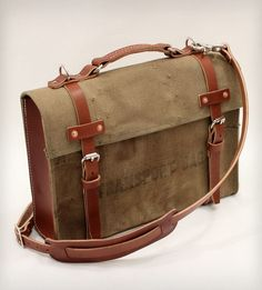 Model A Briefcase :: 30 oz. cotton canvas from deconstructing 1950s military surplus transport bags that were intended for use in the WWII.