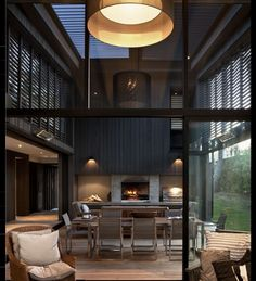 Relaxing Family Home Design with Much of Naturalism: Beautiful Matarangi House Interior With Grey Color Decoration Ideas Big Chandelier Abov. Interior Exterior, Home Interior Design, Outdoor Rooms, Indoor Outdoor, Outdoor Living, My Dream Home, Master Suite, Home And Living, Interior Architecture