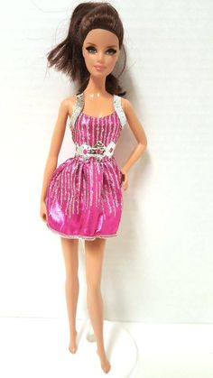 Barbie Doll Fashionistas Glam Purple Cocktail Evening Party Dress Sheer Ruffle