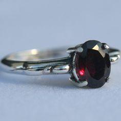 Garnet Ring, Sterling Silver Garnet Ring, Dark Garnet Ring, Size 7 Garnet Ring Gemstone Ring, January Birthstone Ring, Maggie McMane Designs