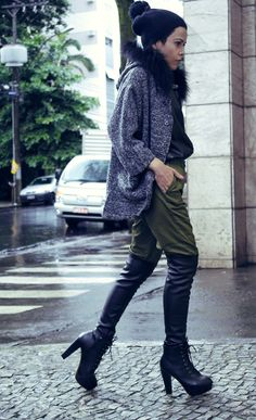 #military #leather #pants #coat #fur #grey LOOK AT ME BR Fashion blog Brazil style trends by Priscila Diniz lookbook.nu