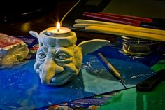 Goblin head candle holder, ceramic clay