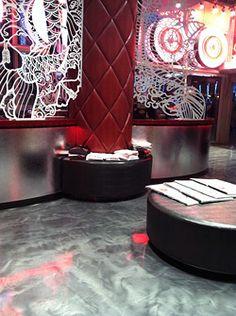Liquid Dazzle metallic epoxy floor at Vegas Ink in Las Vegas.