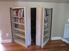 Knee Wall Storage Hidden Door Bookcase, Hidden Doors, Bookcase Closet, Wall  Bookshelves,