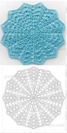Today we have one more very special crochet project for you and one more crochet tutorial for this amazing doily. Crochet doilies are just wonderful for adding a Th Ripple crochet mandala in many colors Crochet Potholder Patterns, Crochet Coaster Pattern, Crochet Placemats, Crochet Diagram, Freeform Crochet, Crochet Chart, Crochet Motif, Diy Crochet, Knitting Patterns