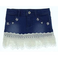 0d0106bb Girls Blue Denim Skirt with Stud Detailing and Lace Hem Guess Girls Denim,  Girls, @ Chocolate - Luxury childrenswear for all occasions!