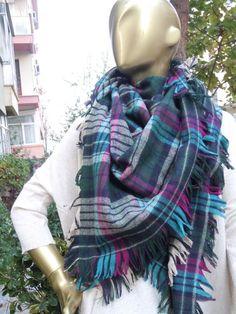 Plaid Blanket Scarf  Green blue Plaid scarf by bosphorusscarf