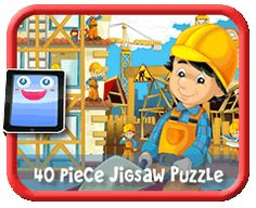Construction Site - 40 Piece Online jigsaw puzzle for kids