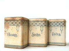 French vintage ART DECO cream and blue kitchen canister set, Shabby chic french country kitchen on Etsy, $92.90 AUD