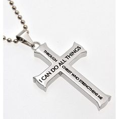 Philippians 4:13 Jewelry, Cross Necklace STRENGTH Bible Verse, Stainless Steel…