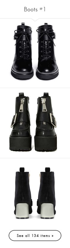 """Boots #1"" by la-lunar-eclipse ❤ liked on Polyvore featuring shoes, boots, botas, black leather boots, shiny leather boots, black zip boots, shiny black shoes, leather shoes, black zipper boots and black platform boots"