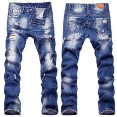 Новые мужские длинный прямой хип-хоп приталенная повседневная джинсовые брюки повседневный отверстие джинсы