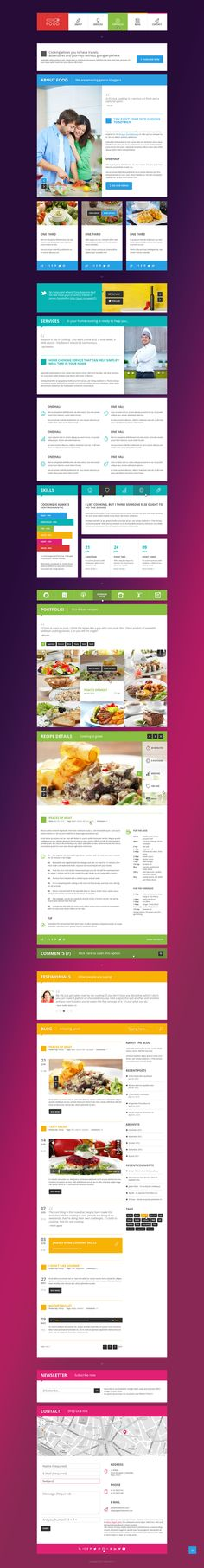 Food - Metro style Food & Restaurant PSD Single Page.  Home.