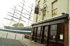 The Gipsy Moth. 60 Greenwich Church Street, Greenwich. Nice pub with outside seating. Three steps from The Cutty Sark.