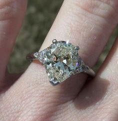 Near White Radiant Moissanite 3.29Ct 3 Stone Engagement Ring 925 Sterling Silver