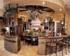 This is such a unique set up for a kitchen, but I love it! Entertaining here would be fun.