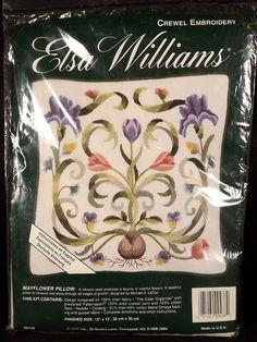 Elsa Williams Mayflower Crewel Embroidery Pillow Kit Sealed Linen Fabric Printed #ElsaWilliams #Mayflowercrewelpillow