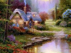 AmO Images, A set of Thomas Kinkade Paintings - painter of light Thomas Kinkade Art, Kinkade Paintings, Thomas Kincaid, Gato Animal, Fairy Wallpaper, Nature Wallpaper, Wallpaper Backgrounds, Art Thomas, Cottage Art