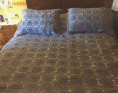 Hand Crocheted Queen Size Blue Bed Spread   Two Crocheted Pillow Sham