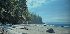"Ron Parker - Mystic Beach Spring - 27"" x 54"" - oil on canvas"
