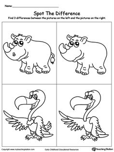 *FREE* Spot The Difference on the Animals: Rhino and Vulture: Spot The Differences Worksheets help children practice drawing and the concept of same and different as well as enhancing their focus skills. In this printable worksheet, your child will have to point out the differences between the pictures and draw the missing parts.