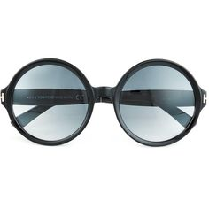 Tom Ford Juliet Oversized Round Frame Sunglasses ($255) ❤ liked on Polyvore featuring accessories, eyewear, sunglasses, glasses, black, tom ford, round frame glasses, etched glasses, oversized eyewear and metallic glasses
