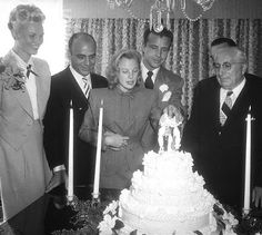 June Allyson and Dick Powell married August 19, 1945. Mayer is on the right and Bonnie and Johnny Green on the left who offered their home for the ceremony.