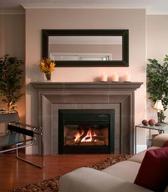 Fireplace Surround Ideas Modern Fireplace Cast Concrete Mantel Black Leather Mirror : 5 Fireplace Surround and Decorating Ideas | Top Home Ideas