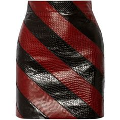 Black and red snakeskin fabric alternate in diagonal stripes along this Saint Laurent mini skirt.. DIY the look yourself: http://mjtrends.com/pins.php?name=snakeskin-for-mini-skirt