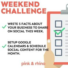 Number 2 for all you #weekend #entrepreneurs! WE GET YOU!! You are busy getting caught up with work friends family dogs kids dates and of course a little wine! Every #Friday we give you a couple ideas to make a little bit of #progress towards your #business. These are bit size #tips tricks and #businesshacks to give you #inspiration and #motivation to keep moving forward.  This weekend we want you to develop 5 facts about your business. These can be anything you think your audience will find…