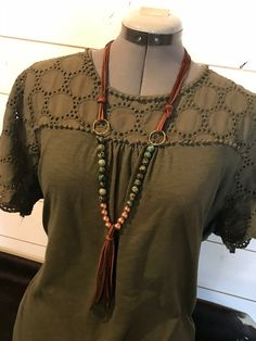 Fringe Leather Necklace with African Turquoise and Rose Gold Music Festival Outfits, Music Festival Fashion, Fashion Music, Festival Style, Black Necklace, Leather Necklace, Beaded Necklace, Gypsy Style, Boho Style