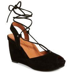 """L'Amour des Pieds 'Izette' Lace-Up Wedge, 3"""" heel ($220) ❤ liked on Polyvore featuring shoes, black suede leather, wedge heel shoes, high heel shoes, platform lace up shoes, black high heel shoes and black lace up shoes"""