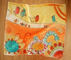 Hand Painted Silk Scarf with flowers and birds in navy blue, orange and yellow colors. Square scarf suitable for fall and summer. Fun neck scarf with cute birds. Original gift for women and teenage girls. Painted on 100 % soft natural silk. Entirely handmade with hand rolled edges.